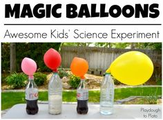 Awesome Kids' Science Experiment!! 4 simple ways to blow up balloons on a bottle. {Playdough to Plato}