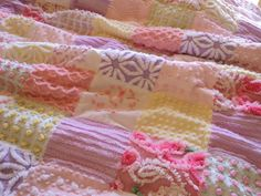 SOLD Sweet vintage chenille quilt, soft pastel colors, pink, lavender, yellow, throw 42 x 58., via Etsy.