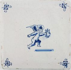Antique Dutch Delft tile with Cupid in flight while holding a laurel wreath, 17th century