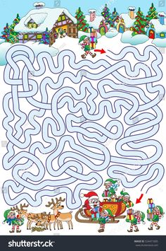 Christmas Paper, Kids Christmas, Christmas Crafts, Maze Worksheet, Preschool Worksheets, Winter Activities, Toddler Activities, Maze Drawing, Mazes For Kids Printable