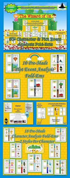 The Wizard of Oz Character Analysis Mini Fold-Ems. Engage your students with this visual writing activity. Analyze the varying aspects of each of the main characters of the classic fantasy adventure. Works well with both the novel and movie version. Perfect for study guides, bulletin board display, book report alternatives, etc.