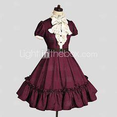 Einteilig/Kleid Niedlich Rokoko Cosplay Lolita Kleider Rot einfarbig Wadenlänge Kleid Für Damen Baumwolle 5483845 2017 – $84.99