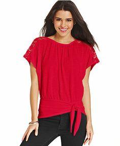 BCX Crochet-Knit-Inset Blouson Top - Tops - Women - Macy's $39.00