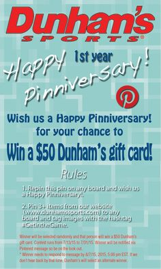 5afa64e5c4 Repin this pin and 3 or more from our website for your chance to win a $50  Dunham's gift card. SWEEPSTAKES IS CLOSED. Dunham's Sports