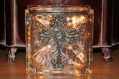 Lighted Glass Block with Cross