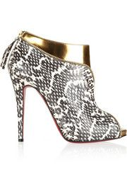Christian Louboutin Col Zippe 120 leather and python ankle boots