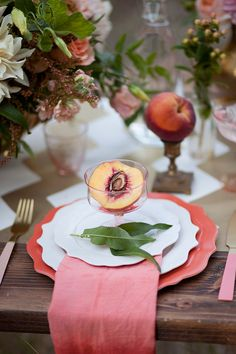 Peach Wedding Details...Variety of peach or coral or orange shades of napkin rings, coasters, napkins, table overlays, wine bottle covers, and garland at alwayselegant.com