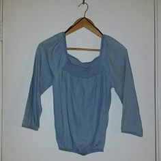 Vintage Denim Off Shoulder Top + lightly used + perfect condition + quarter sleeve + loose fit + offers welcome via designated button Vintage Tops Crop Tops