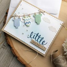 Baby Shower Cards Handmade, Greeting Cards Handmade, Cricut Cards, Stampin Up Cards, New Baby Cards, Marianne Design, Card Making Inspiration, Kids Cards, Scrapbook Cards