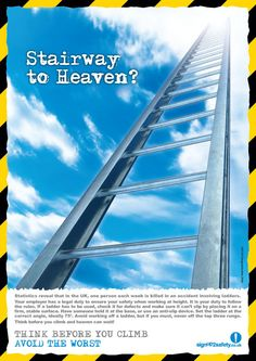 unique safety posters - Google Search Office Safety, Safety Posters, Funny Posters, Stairway To Heaven, Stairways, About Uk, Google Search, Unique, Stairs