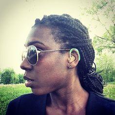 braids hair style, hearing aids