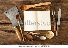 stock-photo-empty-notebook-or-cookbook-and-vintage-kitchen-utensils-on-wooden-table-299075738.jpg (450×320)