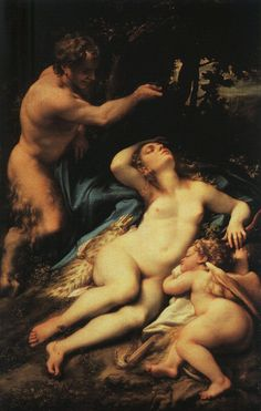 Venus and Cupid with a Satyr by CORREGGIO, grandfather to Baroque and Mannerist thinking.