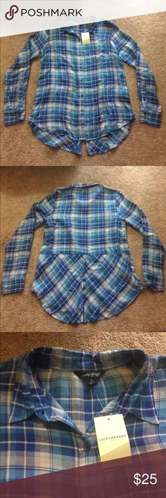Luck Brand Flannel Blue Shirt This Lucky Brand Blue Flannel Shirt is perfect for spring! You can layer it or tie it around your waste! The shirt is brand new with tags! Lucky Brand Tops Button Down Shirts