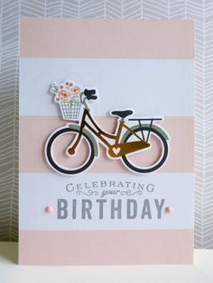 Birthday wishes - 2015-03-19 - koolkittymusings.typepad.com Paper: MME Die-cut bicycle: Simple Stories Stamp sentiment: Papertrey Ink