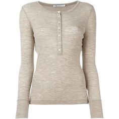 T By Alexander Wang Henley Jumper (340 AUD) ❤ liked on Polyvore featuring tops, sweaters, long sleeve sweaters, ribbed sweater, pink top, long sleeve scoop neck top and scoop neck top