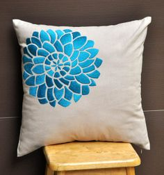 Blue Flock Flower Throw Pillow Cover  18 x 18 by KainKain on Etsy, $24.00