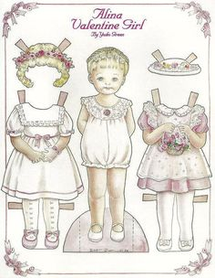 Doll World - Yuko Green paper dolls ALINA VALENTINE GIRL