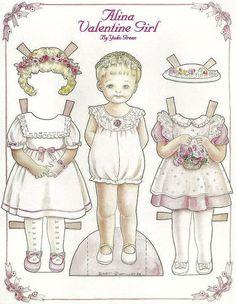 Doll World - Yuko Green paper dolls ALINA VALENTINE GIRL