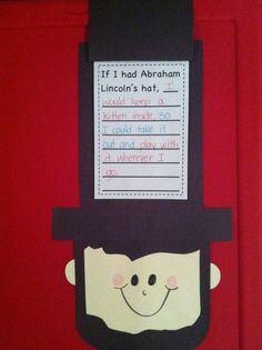 Abraham Lincoln craft for Presidents Day! I will be using this next year. This is much cuter than the Abe Lincoln Hat  I did. This activity goes well with the book, Abe Lincolns Hat. :) #Home