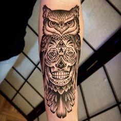 One shot sugar skull owl for @mdido8 Fun client, fun tattoo. Thanks! #tattoo #tattoos #bostontattoo #owltattoo #sugarskulltattoo #blackwork #blackworkers #blackworkerssubmissions #pinobrosink #lastlightart @pinobrosink
