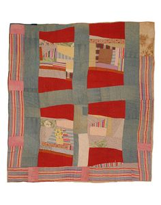 This Mosaic Medallion/Pig Pen variation quilt was pieced about 1950-1955. The top is pieced from cotton prints and solids, chambray, and fla...