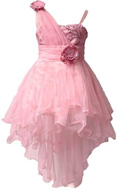 Shiny Toddler One Shoulder Sequins HighLow Flower Girl Birthday Party Dress Pink 3t *** Click on the image for additional details.