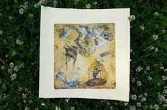 Birdcage etching original surreal jackalope by BeMyNightbird