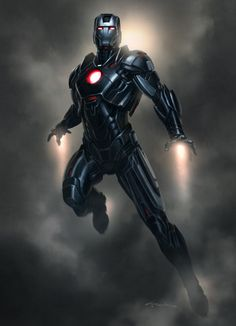 "Iron Man 3 Armor Concept Designs by Andy Park - Mk XVI Black Stealth Suit ""Nightclub"""