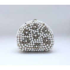 Elegant Sparkle Satin Rhinestone Beaded Pearl Purse Wallet Bag, Wedding Party Clutch Handbag-Gold