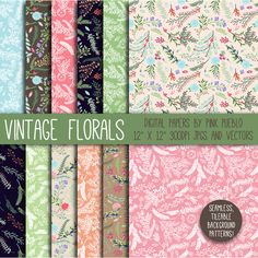 Vintage Floral Papers and Background by PinkPueblo on Creative Market