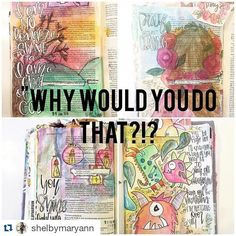 """Bible journaling is beautiful and of course it's fun but every once in a while I stumble upon some one who truly touches my heart and makes me shout AMEN!! I've only been following @shelbymaryann for a little while but her truth and hunger for God is truly beautiful!! Also this post...  #Repost @shelbymaryann with @repostapp  I try to be real passionate vulnerable and honest with you guys.. So I feel I need to say this. . I get asked and recently messaged about """"Why would you do that in THE…"""