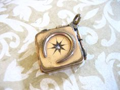 Antique Victorian Gold Filled locket  with horseshoe