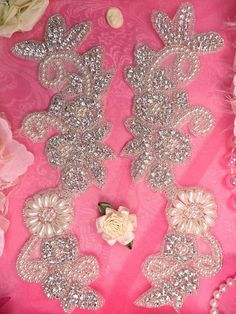 XR147 Floral Flower Mirror Pair Silver Beaded by gloryshouse, $29.99