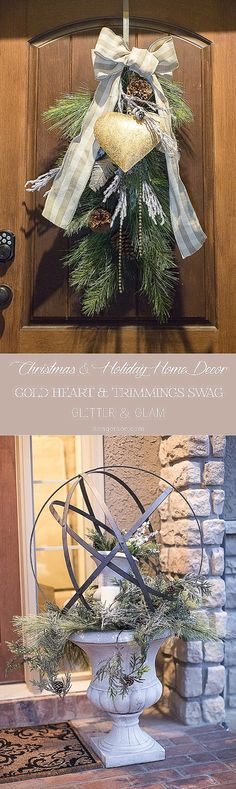 Decorating for Christmas with gold heart on a wreath swag and an urn with an orb with an urn inside of it! Gorgeous front porch for the holidays from home lifestyle blogger at www.sengerson.com.
