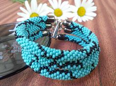 Turquoise Teal beaded Bracelet Everyday blue 3 Strand Bead