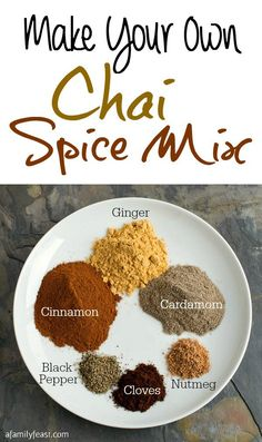 Spice Mix Make your own Chai Spice Mix using ingredients you likely already have in your kitchen cabinet!Make your own Chai Spice Mix using ingredients you likely already have in your kitchen cabinet! Homemade Spices, Homemade Seasonings, Homemade Chai Tea, Homemade Spice Blends, Bebidas Low Carb, Yummy Drinks, Yummy Food, Do It Yourself Food, Spice Mixes