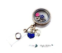 magnetic locket badge holder glass locket id by MariposaCollection, $27.00