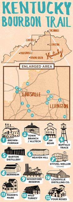 Map of Kentucky Bourbon Trail: Map of Kentucky Bourbon Trail: We've knocked off Makers, Wild Turkey, & Four Roses and Saturday I'm surprising Aaron with a trip to Heaven Hill.