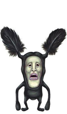 「黑羽煞」、醜比頭網、不吉目、雙觸頭科、黑羽屬。身長 :約19cm~21cm(不含頭觸)。棲息地 :墳墓與枯枝上。特徵 :性格暴戾、最討厭乾淨的東西、通常和烏鴉及黑貓為伍。食物 :屬於什麼都吃的雜食性。OBITOS Official Website