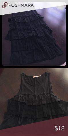Juicy Couture black tank top Beautiful Juicy Couture black tank top with layered ruffles in front, excellent shape !! Juicy Couture Tops Tank Tops