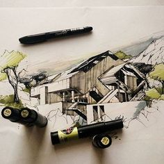This drawing uses minimal marker techniques, the marker was used to highlight an important quality of the image and that includes the timber on the walls of the building, marker was also used on the tree to tie it all in together