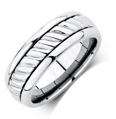 Michael Hill for Father's Day - Men's Patterned Ring in Stainless Steel, $129.