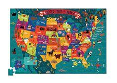 CROCODILE CREEK PUZZLE MAPA USA 200 EL.   Zabawki \ Na prezent Zabawki \ Kreatywne Zabawki \ Puzzle 12-24 miesiące 2 latka   3kiwi.pl Sklep