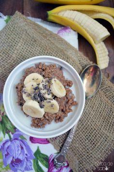 Avena con plátano y chocolate | http://www.pizcadesabor.com/2014/03/14/avena-con-platano-y-chocolate/