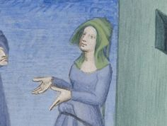 Detail, BnF MS Latin 7907 A, The Comedies of Terence, circa 1400-1407, fol. 42r. The Compleatly Dressed Anachronist: headdress