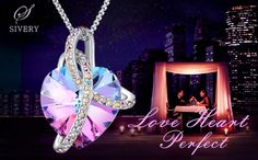 Valentine's Day Gift for Her Swarovski Crystal Necklace I Love You Heart Pendant SPECIFICATION: Elegant Crystals from Swarovski   High Quality Alloy Heart Pendant: 1inch(Height)/0.8inch(Width) Chain:15.75inch 2.16nch(Extend Chain) Color: Light Purple   Cl