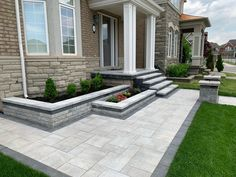 Pro Loc Interlocking And Landscape Design House Landscape, Landscape Design, Backyard Patio, Backyard Landscaping, Stone Patio Designs, Front House Landscaping, Front Yard Design, House Front, Land Scape