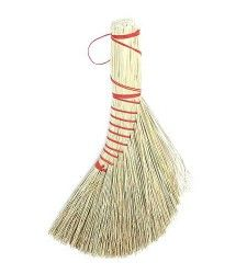 Dutch Brush - Brook Farm General Store.  A classic Dutch style handbroom. Handwoven in the traditional style from sweetgrass and recycled red twine. With a rounded back edge and a loop for hanging.