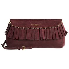 Burberry Suede Clutch Bag with Fringe ❤ liked on Polyvore featuring bags, handbags, clutches, burberry, bolsa, carteras, burberry purses, fringe clutches, fringe handbags and suede purse